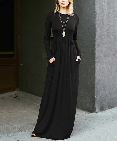 variety design the best price remains stable Black Long-Sleeve Maxi Dress - Women