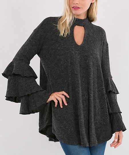 b565f513d3d4e4 love this product Black Ruffle-Sleeve Keyhole Cutout Sweater - Women
