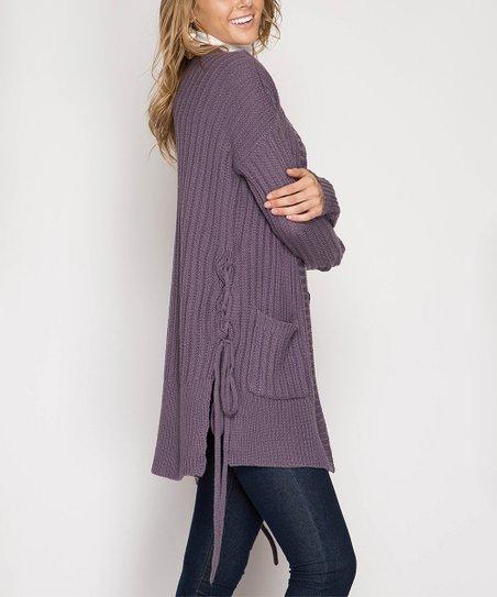 622ee227b Purple Gray Ribbed Side-Tie Cardigan - Women