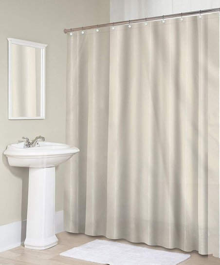 Love This Product Taupe Sheer Microfiber Shower Curtain Roller Hooks