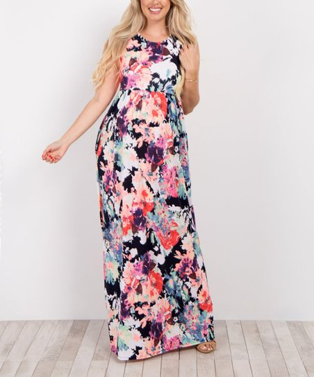 6b743a079ca9b love this product PinkBlush Navy Blue Abstract Floral Maternity Maxi Dress