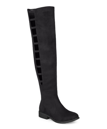 71b6884587a7 Journee Collection Black Pitch Ladder-Cutout Over-the-Knee Boot