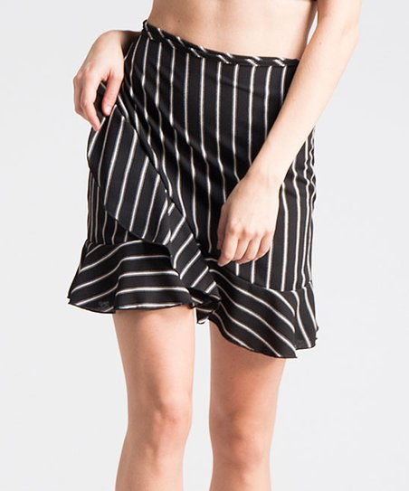 04c6885650 Fashionomics Black Stripe Ruffle-Accent Wrap Skirt   Zulily