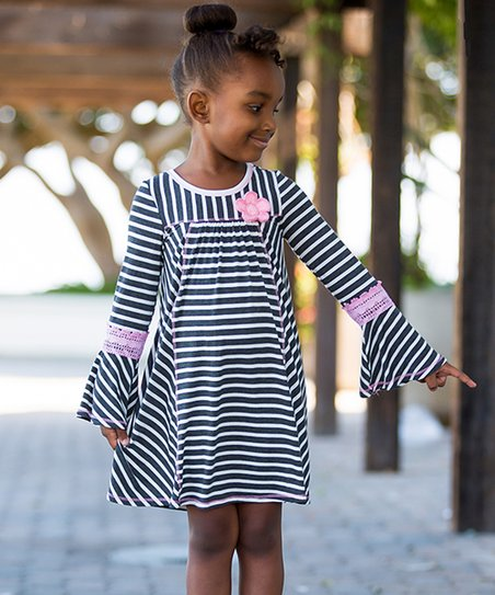 d816b2dfd7f love this product Charcoal   Ivory Stripe Lace Bell-Sleeve Dress - Girls