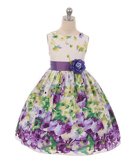 596b0c60b78f Kids Dream Green   Purple Floral Dress - Girls