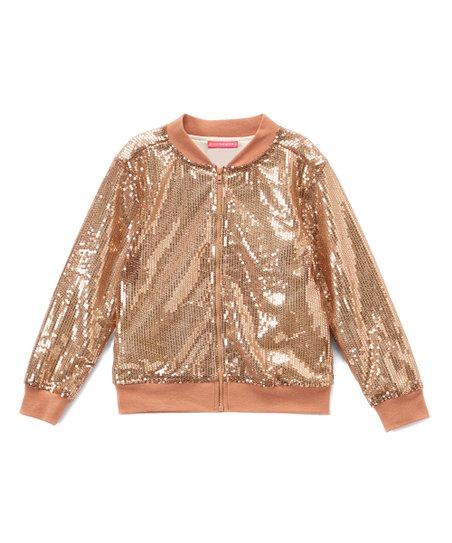 66017100 Kidtopia Gold Sequin Bomber Jacket - Girls | Zulily