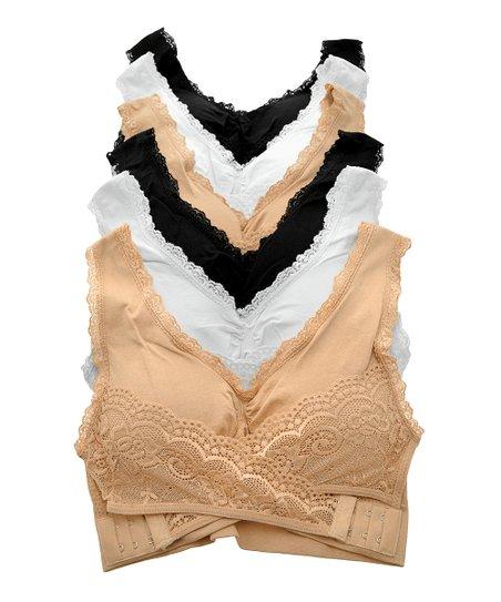 6d00815702 Angelina Black   Nude Lace-Trim Seamless Bra Set