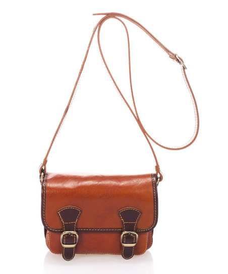 c36d9c310 Marco Chiarini Cognac Buckle-Detail Leather Crossbody Bag | Zulily