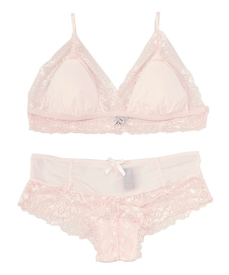 c36660f2bb14 love this product Pink Lace-Accent Boy Meets Girl Bralette & Boyshorts -  Women