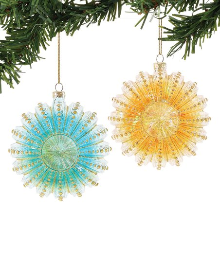 Coast Blue Orange Pretty Sea Urchin Two Piece Ornament Set