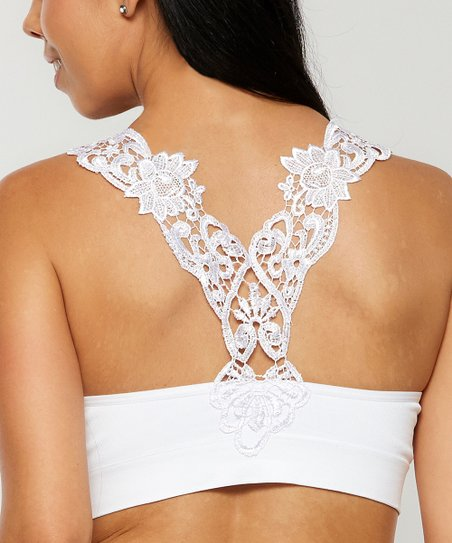 5915dde6323ea2 love this product White Crochet-Back Seamless Bralette - Plus