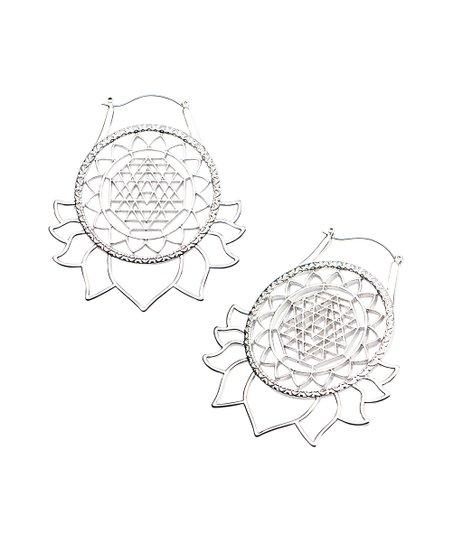 Inox Jewelry Surgical Steel Mandala Lotus Flower Drop Earrings Zulily