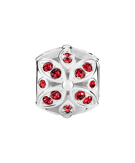 b3c1b6e5f love this product Red & Sterling Silver Floral Bead With Swarovski® Crystals