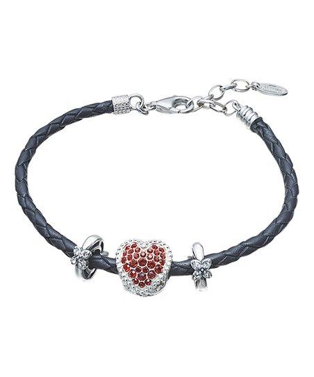 09d9c43da0e5c Chamilia Black Leather & Red Heart Bracelet With Swarovski® Crystals