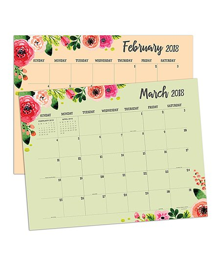 TF Publishing Floral 2018 Desk Blotter Calendar   Set Of Two