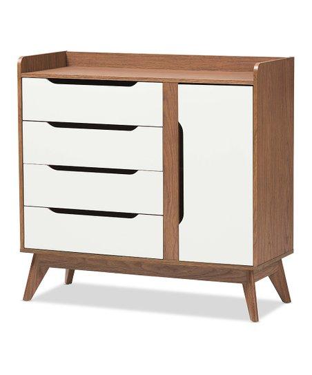 Baxton Studio White Walnut Calypso Four Drawer Wood Shoe Storage