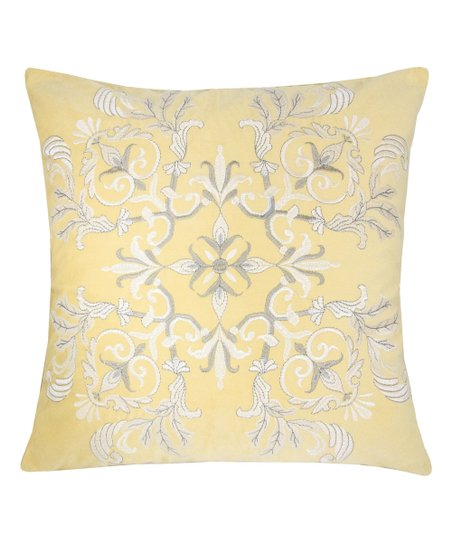 Love This Product Sunshine Yellow Velvet Embroidered Throw Pillow