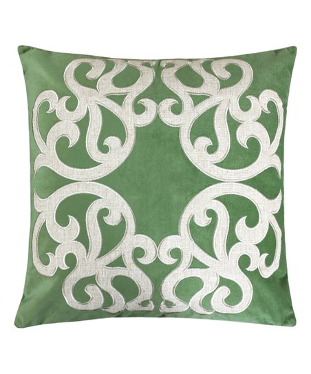 Green Olive Velvet Embroidered Throw Pillow