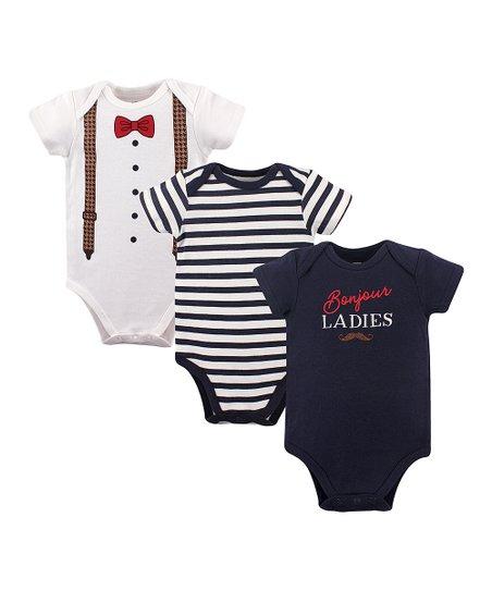 63aa44ffe love this product Navy Tuxedo Three-Piece Bodysuit Set - Newborn & Infant