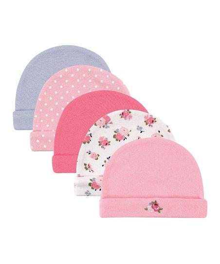 Luvable Friends Pink   Blue Floral Beanie Set - Infant  1d0fa7b5164