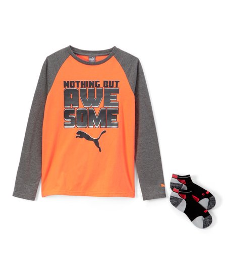 5c0c3b22f39 love this product Fire Orange & Gray 'Awesome' Raglan Tee & Ankle Socks -  Boys