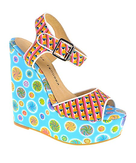 1142c5b215 Chinese Laundry Blue Jollypop Wedge Sandal - Women | Zulily