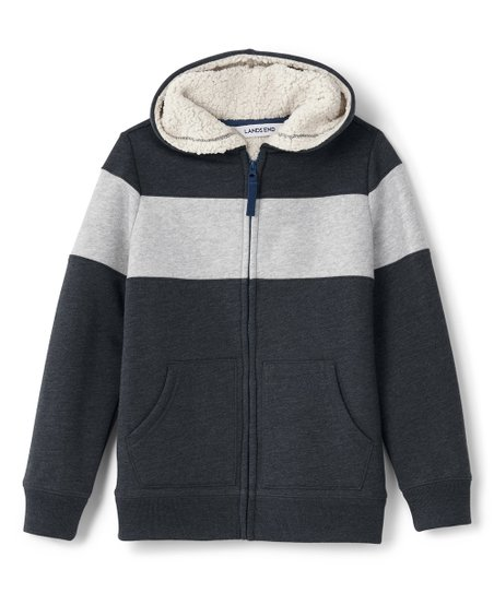59688b710 Lands End Dark Asphalt Sherpa-Lined Hoodie - Toddler & Boys | Zulily