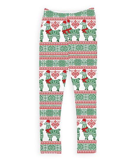 bc252a689 love this product Dark Green & Red Christmas Llama Leggings - Toddler &  Girls