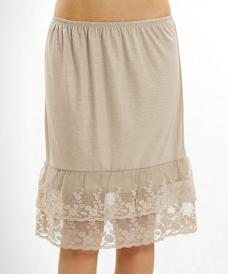 521d2e90e77a Melody Apparel Mocha Tiered Lace-Hem Slip Skirt   Zulily