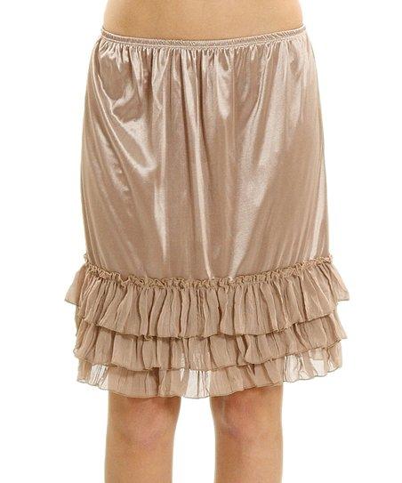 9da06061ff53 Melody Apparel Mocha Satin Tiered Ruffle-Hem Slip Skirt   Zulily
