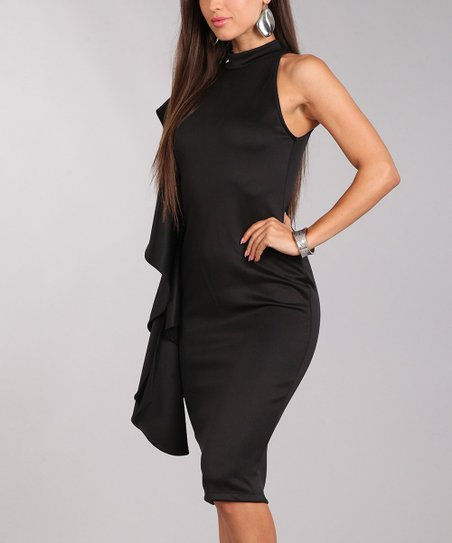 Black Side Ruffle Mock Neck Dress Zulily