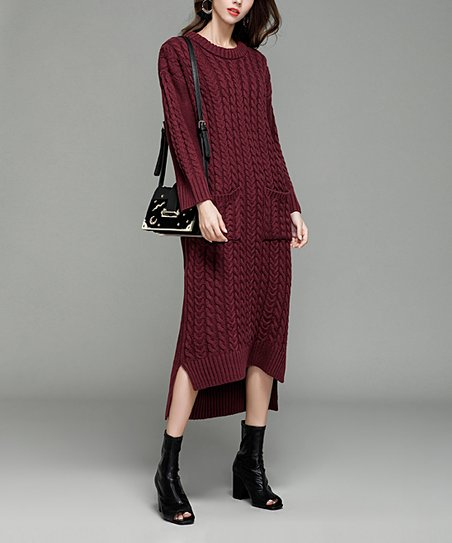 201f6124254 love this product Red Cable-Knit Hi-Low Sweater Dress - Women