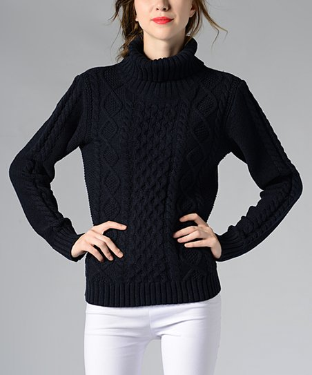 25f1ddb75d89a love this product Navy Cable-Knit Turtleneck Sweater - Women