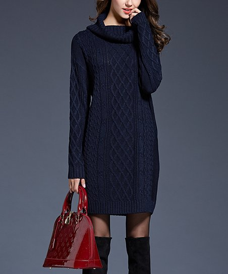81bec672a0d love this product Navy Cowl Neck Sweater Dress - Women