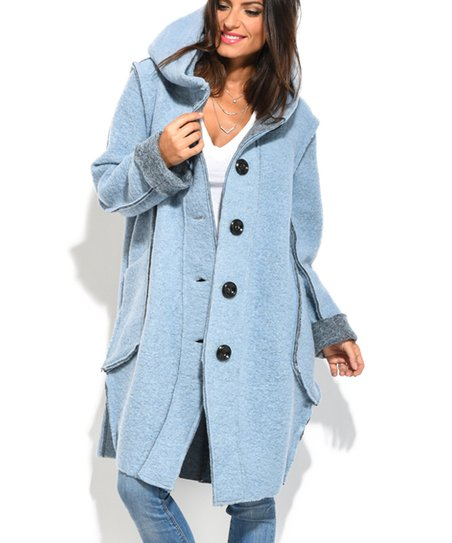 91c77b0a5 Maille Girl Blue Hooded Wool-Blend Coat - Women | Zulily