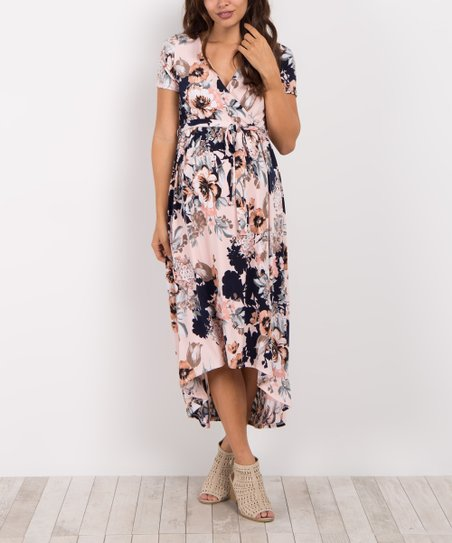 0bbb4a9d3d224 love this product PinkBlush Pink Floral Maternity/Nursing Hi-Low Wrap Dress
