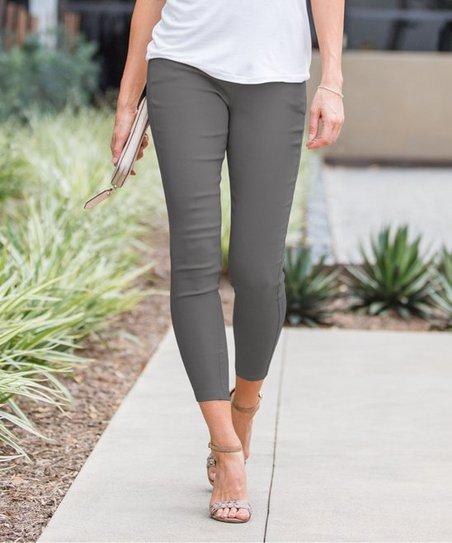 d569fe8107d32 Amaryllis Charcoal Gray Crop Faux-Button Pocket Jeggings - Women ...
