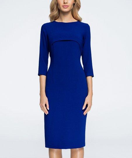 465becf5 love this product Royal Blue Three-Quarter Sleeve Sheath Dress - Women