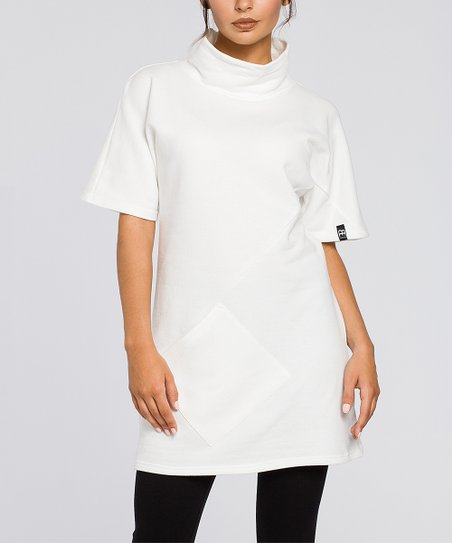 874f2f8f47d love this product White Mock Neck Pocket Tunic - Women