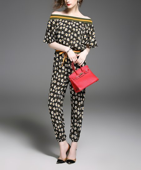 42e97af33008 love this product Black   Yellow Floral Off-Shoulder Jumpsuit