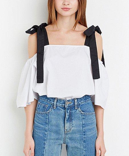 07b242649d60e5 love this product White & Black Tie-Strap Off-Shoulder Top - Women