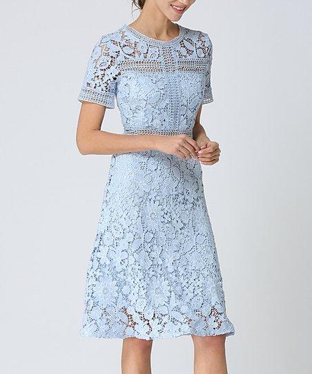 Kaimilan Light Blue Lace Midi Dress Women
