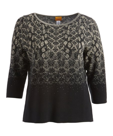 78ca38bbb57d1 love this product Black   Gold Jacquard Three-Quarter Sleeve Tunic - Women