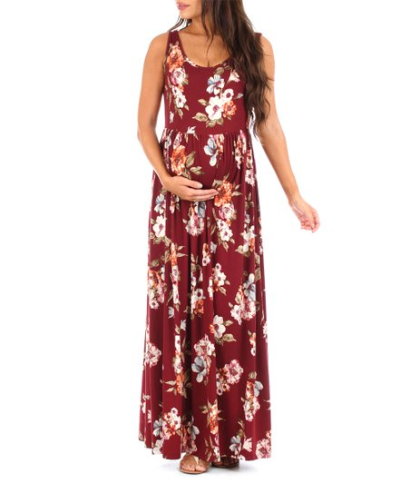 6e8c8132872 Mother Bee Maternity Burgundy Floral Maternity Maxi Dress