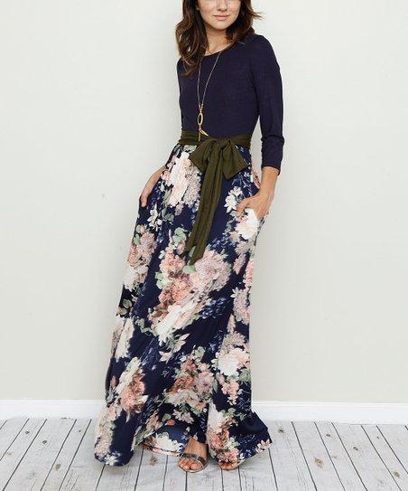 7243aca6b96 love this product Navy & White Floral Sash-Waist Maxi Dress - Women & Plus