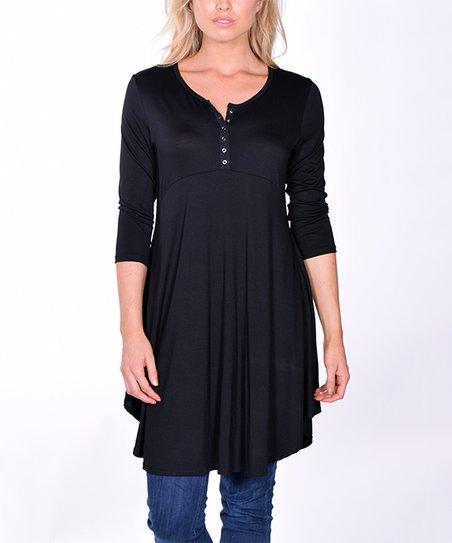 950fd22f4e4 Pastels Black Button-Front Tunic Top - Women | Zulily