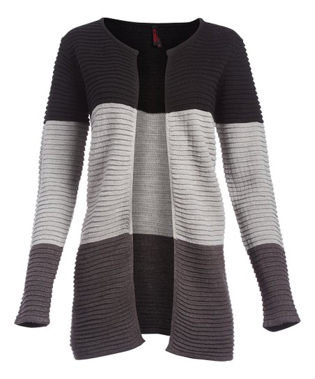 Love This Product Charcoal Heather Gray Color Block Open Front Duster