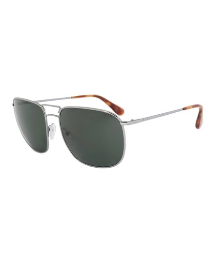 fdde521c1 Prada Gunmetal & Green Square Aviator Polarized Sunglasses - Women ...
