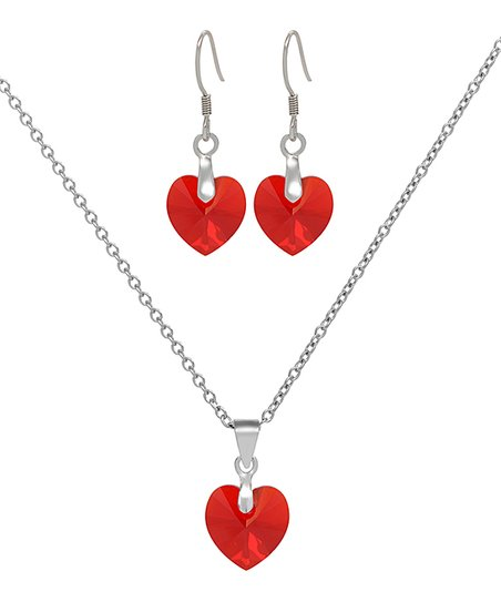 73912c0e4 Orostar Red Heart Pendant Necklace Drop Earrings With Swarovski