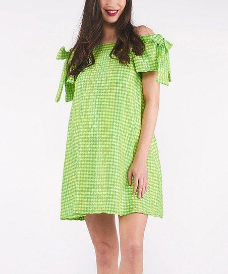 f8960d5fe5b9 37.5 Beloved Green   White Gingham Maternity Off-Shoulder Dress